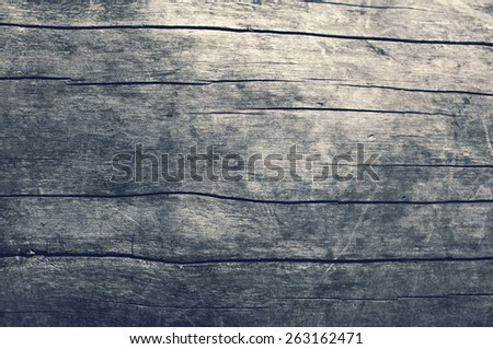 Wooden texture gray table, natural wood background, top view - stock photo