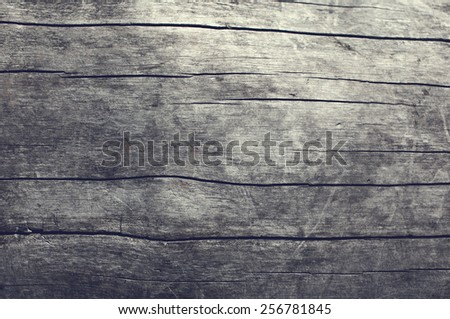 Wooden textured gray table, natural wood background, top view - stock photo