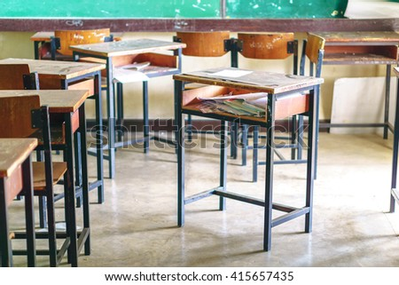 Wooden Thai school desk and chairs