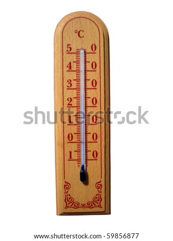 wooden thermometer - stock photo