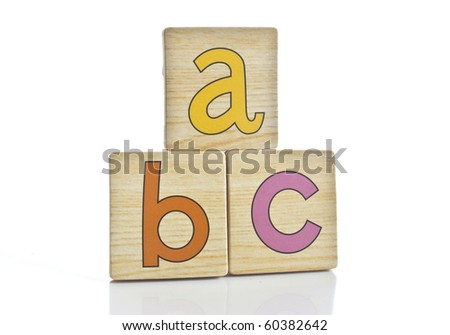 wooden tiles with the letters A B C - stock photo