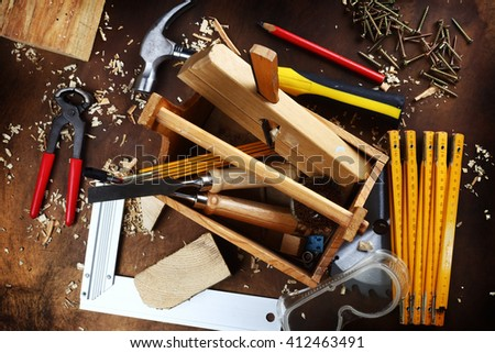 wooden tool box at work place - stock photo