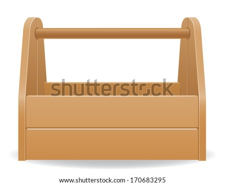 wooden tool box illustration isolated on white background