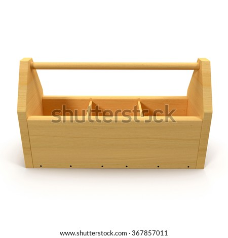Wooden Tool Box on White Background