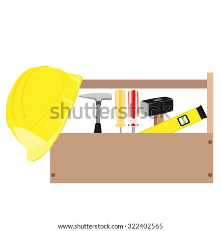 Wooden toolbox with handle. raster illustration of  orange and red screwdriver, sledge hammer, helmet, hammer and level tool inside toolbox - stock photo