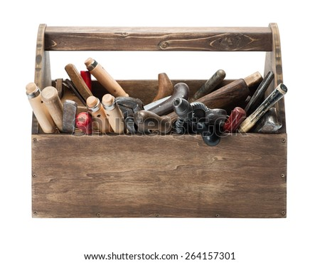 Wooden toolbox with old tools - stock photo