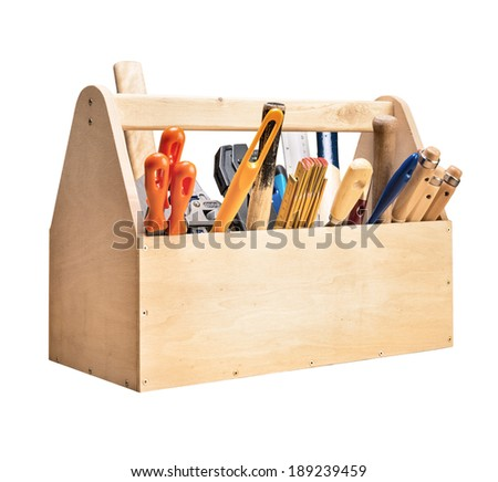 Wooden toolbox with tools isolated on white - stock photo