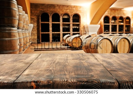 wooden top barrels and space  - stock photo