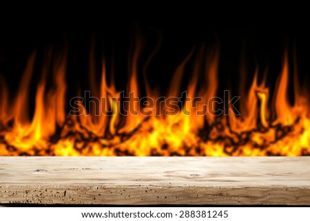 wooden top place fire and space for your food  - stock photo