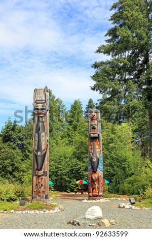 Wooden totem pole in British Columbia (Canada) - stock photo