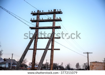 Wooden tower electric transmission line. Power supply technology of the last century. Wooden poles electrical supply system of the poor regions of Ukraine