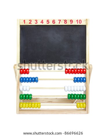 Wooden toy abacus with blank blackboard on a white background. - stock photo
