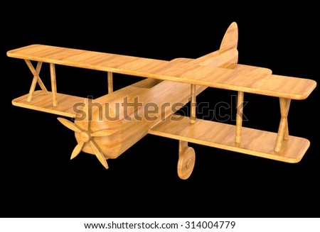 Wooden toy - aircraft - stock photo