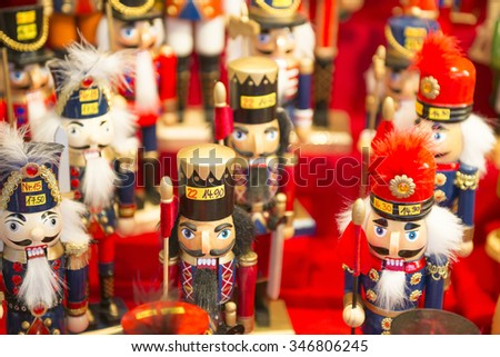 Wooden toy at Christmas Market in Nuremberg, Germany - stock photo