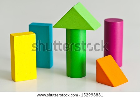 wooden toy blocks. - stock photo