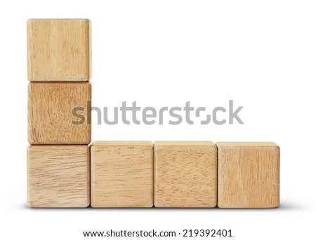 Wooden toy blocks is on white background with clipping path - stock photo