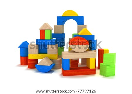 Wooden toy blocks  isolated on a white background, 3D model, 300 D.P.I