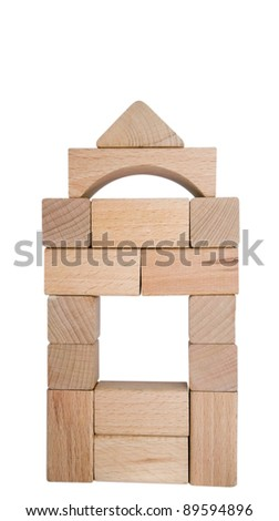 Wooden toy blocks isolated on white background. Clipping path included. - stock photo
