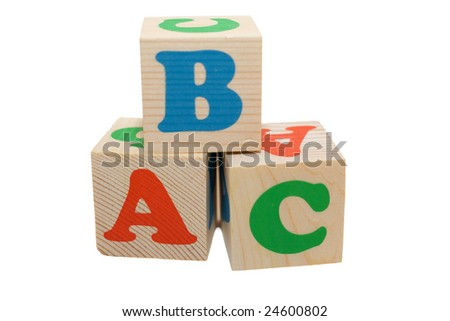 wooden toy blocks on white background - stock photo