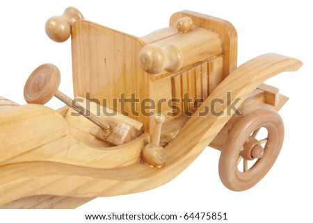 Wooden Toy Car isolated on white background - stock photo