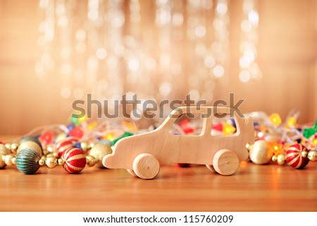 wooden toy. Christmas background. - stock photo