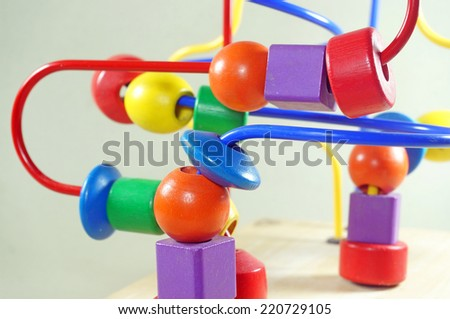 wooden toy colourful for learnig - stock photo