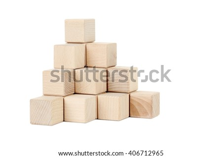 Wooden toy cubes isolated on a white - stock photo