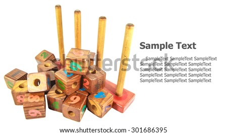 wooden toy cubes with letters. Wooden alphabet blocks. isolated on white background  - stock photo