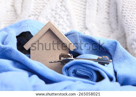 wooden toy house - home purchase mortgage concept - stock photo