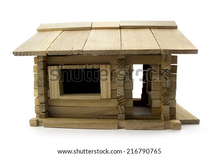 Wooden toy house profile. Isolated wooden toy home profile view.