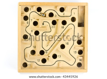 wooden toy labyrinth - stock photo