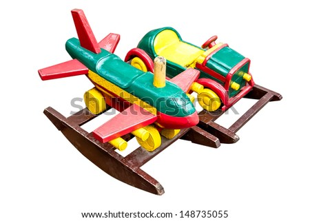 Wooden toy  on white background - stock photo