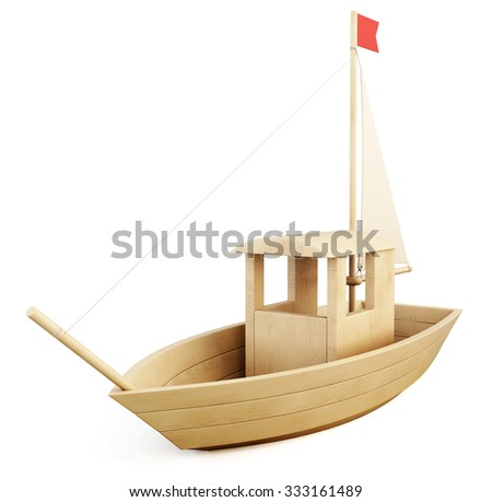 Wooden toy sailboat isolated on white background. 3d illustration.
