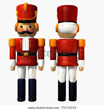 Wooden toy soldier in red uniform front and back view on isolated on clean white background. Illustration - stock photo