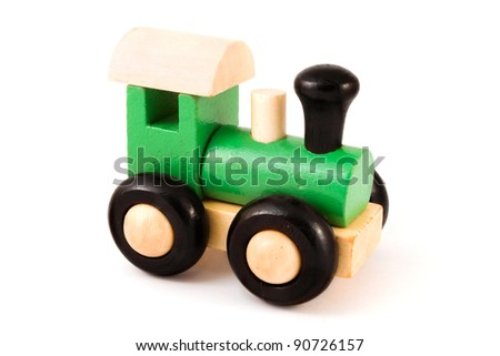 Wooden toy train isolated on white - stock photo