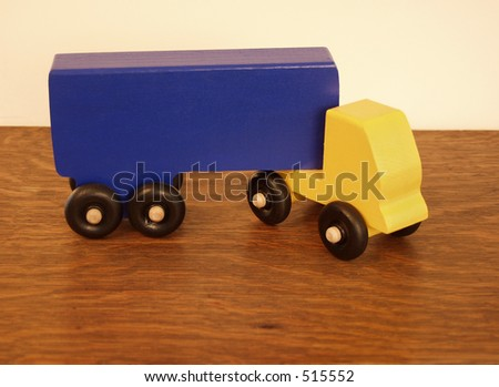 wooden toy truck - stock photo
