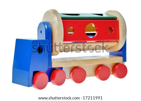 wooden toy truck on the white background