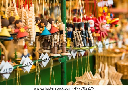 Wooden toys at Christmas Market in Nuremberg, Germany