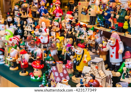 Wooden toys at Christmas Market of Chinese Tower in Munich, , Germany - stock photo