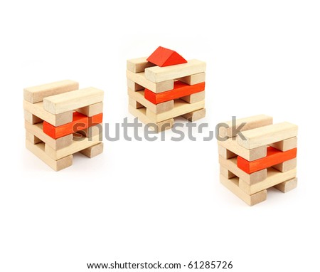 Wooden toys for the building - stock photo