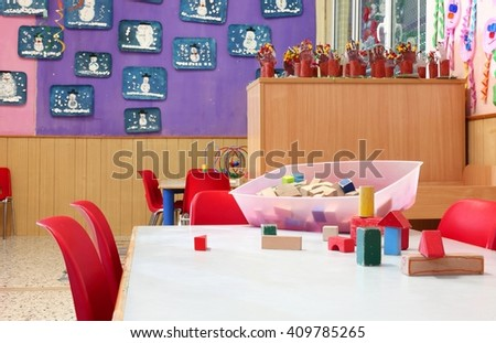 wooden toys in a nursery class without children