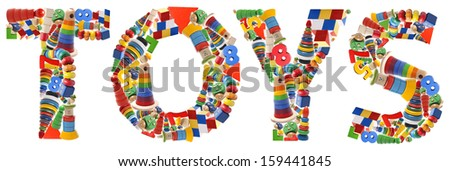 Wooden toys word - Toys on white background