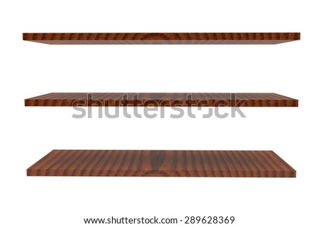 wooden trade shelves with the cracked varnish covering - stock photo