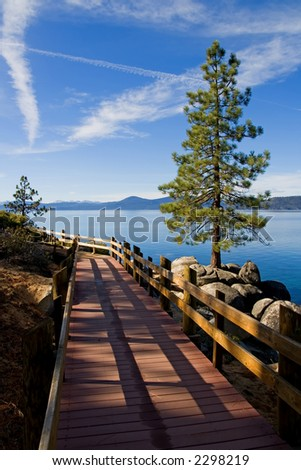 Wooden Trail at Lake Tahoe - stock photo