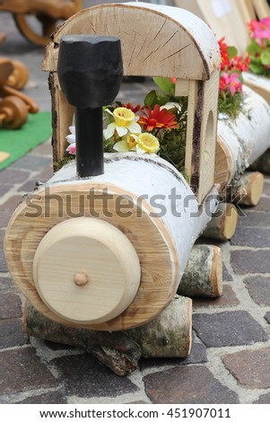 Wooden train in bloom