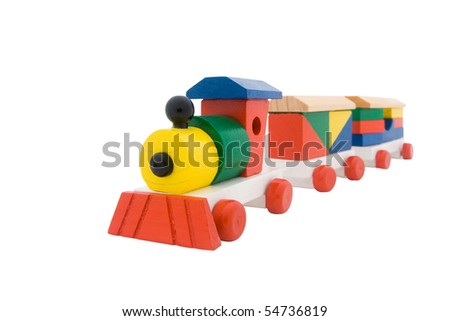 wooden train isolated on a white background - stock photo
