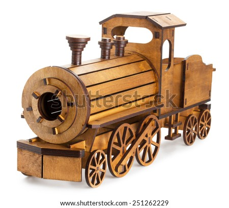wooden train isolated on the white background - stock photo