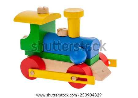 Wooden train toy engine isolated on white - stock photo