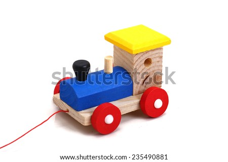 Wooden train. Toys for kids. Safety for children above 4 years old. - stock photo