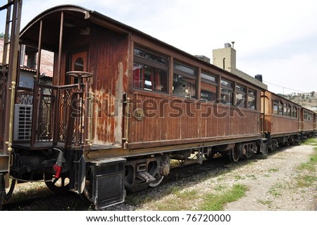 Wooden train wagon in Amman,Jordan - stock photo